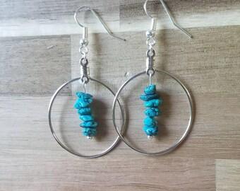 Turquoise Earrings // Hoop Earrings // Circle Earrings // Turquoise Jewelry // Crystal Earrings // Crystal Jewelry / Native American Jewelry
