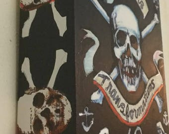 "Transformations, Pirate Art Panel, 5"" x 7"" x 2"" by Juliana Coles"