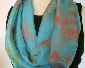 "Hand Dyed Silk Infinity Scarf - 11 x 76"", Turquoise with Terracotta and Yellow,  Long Infinity Loop"