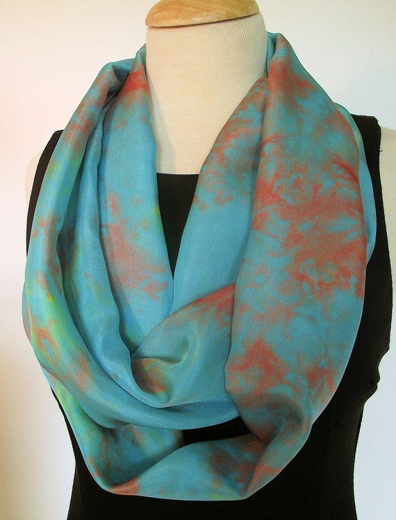"""Hand Dyed Silk Infinity Scarf - 11 x 76"""", Turquoise with Terracotta and Yellow,  Long Infinity Loop"""