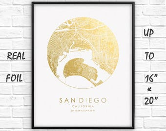 """San Diego City Map Gold Foil Print up to 16""""x20"""" San Diego Large Wall Art Circle Poster Gift Home Office Decor US GoldenGraphy"""