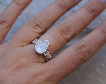 Teardrop Talisman: Moonstone Ring, Sterling Silver Ring, Boho Ring, Gypsy Ring, Stone Ring, Statement Ring, Sunsara Jewellery