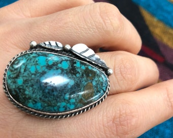 Huge Turquoise Ring/ Southwestern Sterling Silver Ring/ 15 Grams/ Size 7.25
