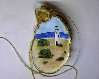 Oyster shell lighthouse ornament