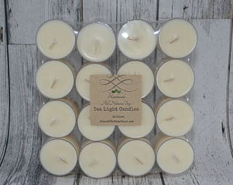 32 All natural Vegan Soy Tea Light Candles Scented or Unscented 6+ hour burn time. Pack of 32 Tealight Candles Cruelty-Free