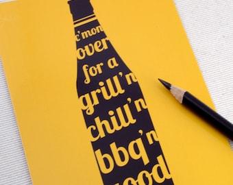 Postcard Party Invitations - Grill'n Chill'n BBQ'n Set of 10 - BBQ invites
