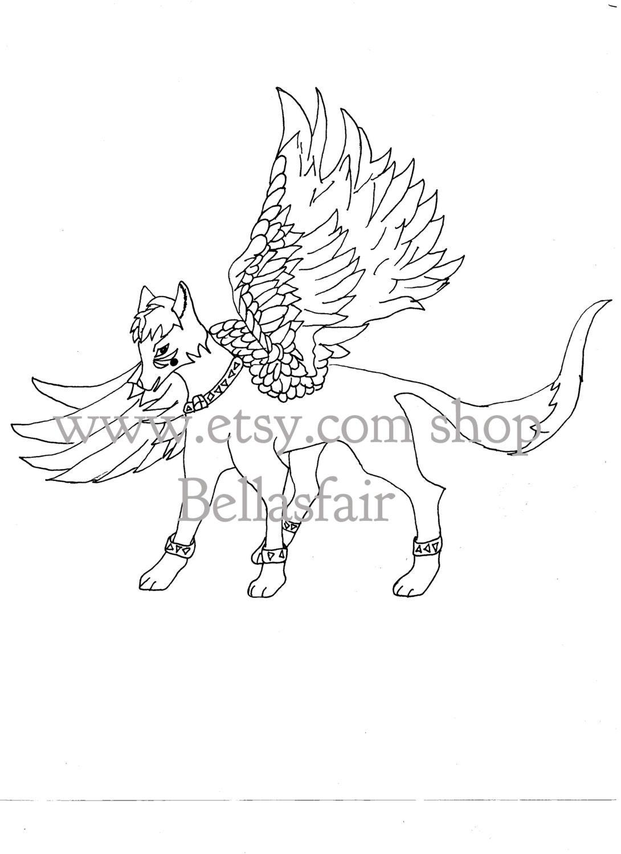 Hand gezeichnet mythischen geflügelten Wolf färben Färbung