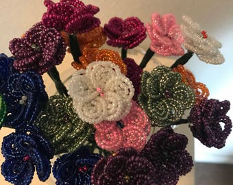 French Beaded Wildflowers