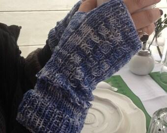 Fingerless Gloves,Cotton Accessories,Stylish Gloves,Wrist-Warmer Gloves,Cotton Wrist Warmer,Blue Elegant Gloves,Fingerless Cotton Knittings,