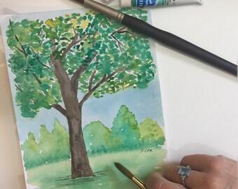 Playroom painting, Original nursery art, Watercolor landscape, Whimsical Nursery art, child illustration, Pretty baby painting, tree art