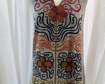 Vintage Seventies Rare Rikma 1970's Cotton Print Dress V-neck