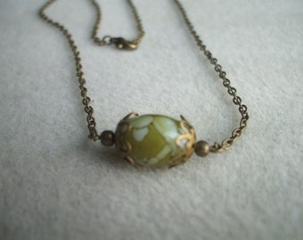 Marbleized Beaded Necklace Antique Gold and Green
