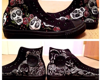 Painted Skull and Rose Converse