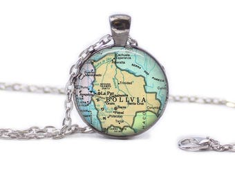 Map of Bolivia Necklace Map Jewelry Travel Necklace Bolivia Jewelry Bolivia Keychain Map of Bolivia