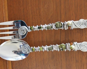 Salad set embellished with glass and silver beads