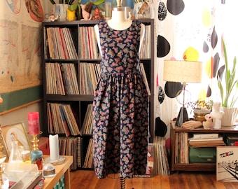 paisley corduroy apron dress, womens xs small pinafore