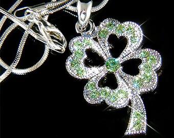 Irish Swarovski Crystal Saint Patrick's Day Lucky Green Four Leaf CLOVER SHAMROCK Pendant Charm Chain Necklace New Christmas Gift