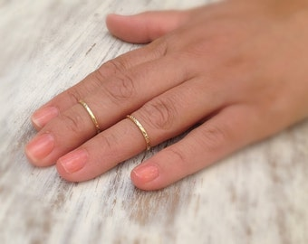 Stacking ring, 2 gold ring, stacking gold ring, knuckle rings, thin gold ring, etched rings, hammered ring, gold knuckle rings -522/2