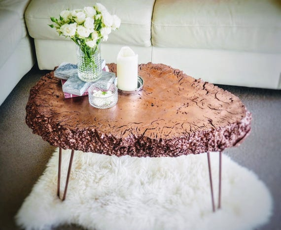 Rose Gold Nugget Table, Eccentric Furniture, Unique Table, Rose Gold Decor  , Hairpi Legs , Red Gum , Accent Table, Coffee Table