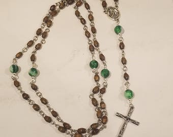 wood and glass 5 decade rosary