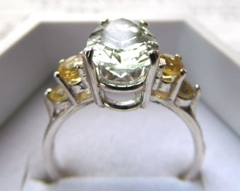 Sterling Silver Ring Set with Pear Shaped Prasiolite Solitaire and Golden Beryl Rounds