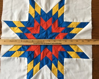 "Eight Pointed Star Quilt Blocks  16.25"" Red Blue Yellow/Cheddar"
