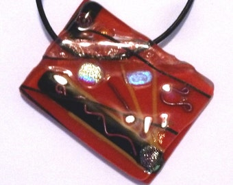 Vintage Fused Red Glass Pendant