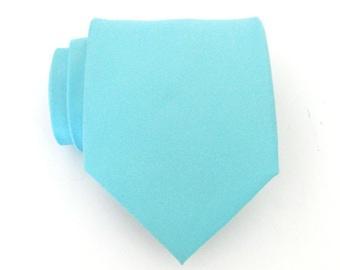 Mens Tie Light Blue Silk Mens Necktie With *FREE* Matching Pocket Square Set