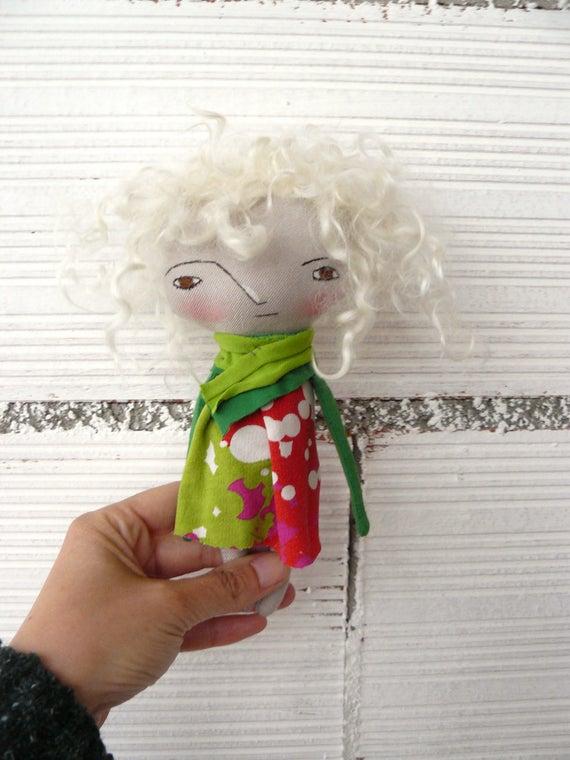 Art doll with natural mohair hair a. 19 cm