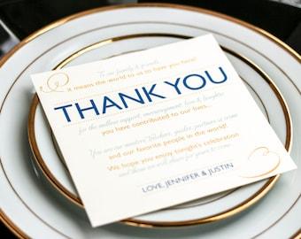 "Beach Wedding, Destination Wedding Thank You Card, Blue and Gold - ""Modern Swirl and Flourish"" Reception Thank You Sign 5.25x5.25 - DEPOSIT"