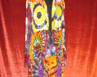 Tie Dyed Stretch Rayon Kimono Robe With Hoodie and Open Front  Psychedelic Designed Hippie Attire