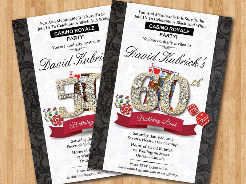 Casino theme birthday invitation. Casino Party game night
