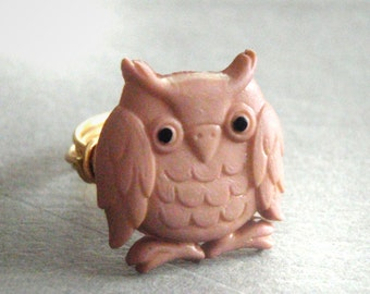 Small Owl Button Wire Wrapped Ring