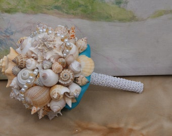 Blue and Coral Seashell Bouquet / Beach Bouquet/ Destination Bouquet/ Seaside Bouquet/ Summer Bouquet/ Wedding Bouquet