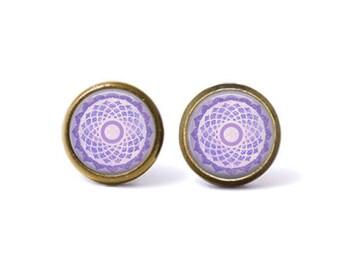 Crown Chakra Sahasrara Stud Earrings. Crown Chakra Earrings, Purple Chakra Earrings, Chakra Jewelry, Boho Jewelry, Watercolor, Mandala