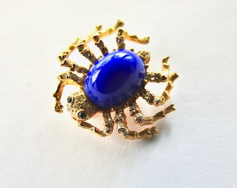Kenneth Lane Spider Brooch Gold Tone Blue Lucite with Rhinestones
