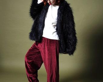Women's velvet pants Bordo velvet pants Velour pajamas pants 80s sharovary pants Maroon velvet pants Vintage velvet Wide leg pants Sport 80s