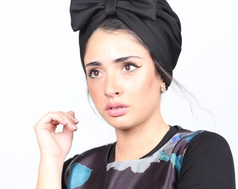 fashion turban, turban, black full turban, chemo hat, women's turban, turban with bow, fashion turban, hair turban, turban headwrap