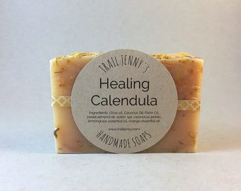 SOAP Healing Calendula Handmade Soap Bar - Cold Process Soap - Vegan Soap - Artisan Soap - Natural Skin Care - Self Care - Herbs - Dry Skin