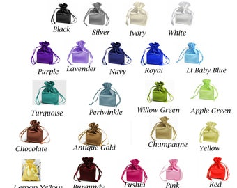 "4""x 6"" SATIN SELECT COLOR custom list - drawstring bags gift favor party, bridal red blue green purple white black gold navy periwinkle pink"
