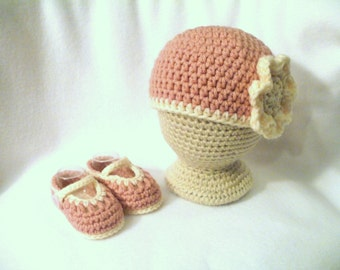 Crocheted Baby Girl's Matching Hat and Booties Baby Booties Crocheted Baby Girl's Hat and Booties Set Girl's Layette