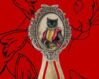 Bookmark cabochon with cat: cat dressed in Lélio