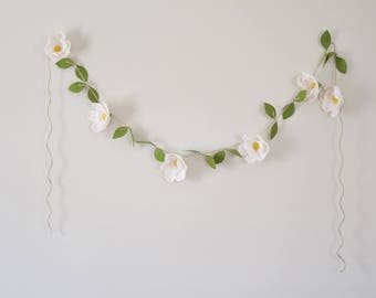 Magnolia Flower Garland - Felt Floral Magnolia Garland - Nursery Wall Hanging