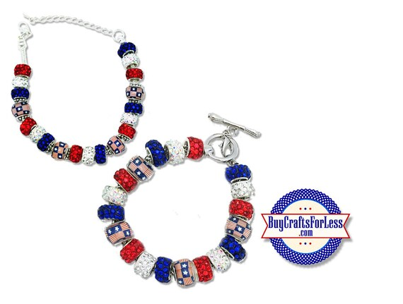 PATRiOTIC USA, July 4th, USA Flag Bead bracelet, 2 Styles - **FREE SHiPPiNG**