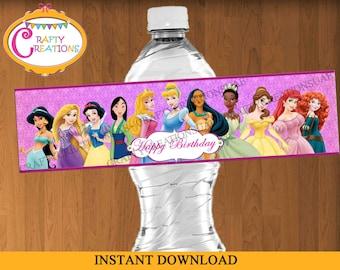 INSTANT DOWNLOAD - Disney Princess Water Bottle Labels - Princess Birthday Party Labels - Waterbottle Label - Printable - CraftyCreationsUAE