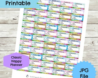 Pain Level Tracker Sticker, Pain Level Sticker, Classic Happy Planner, health and fitness, printable planner stickers