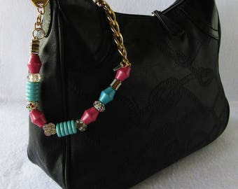 Pink and turquoise Jewel key ring