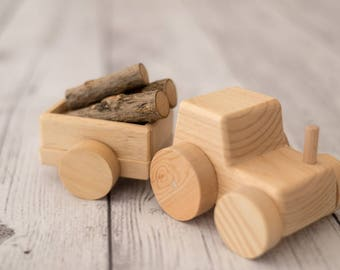 Wooden Toy Tractor with Wagon-  Wood Kids Toy-
