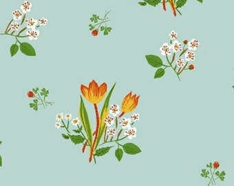 Heather Ross Kinder Fabric, floral print on blue, Windham Fabrics SKU 43482-9, half yard quilting cotton, flower fabric, floral fabric