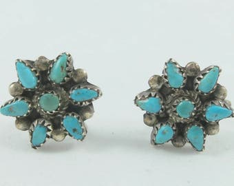 Silver Sterling  Petit Point Zuni Turquoise Floral Screw Back Earrings